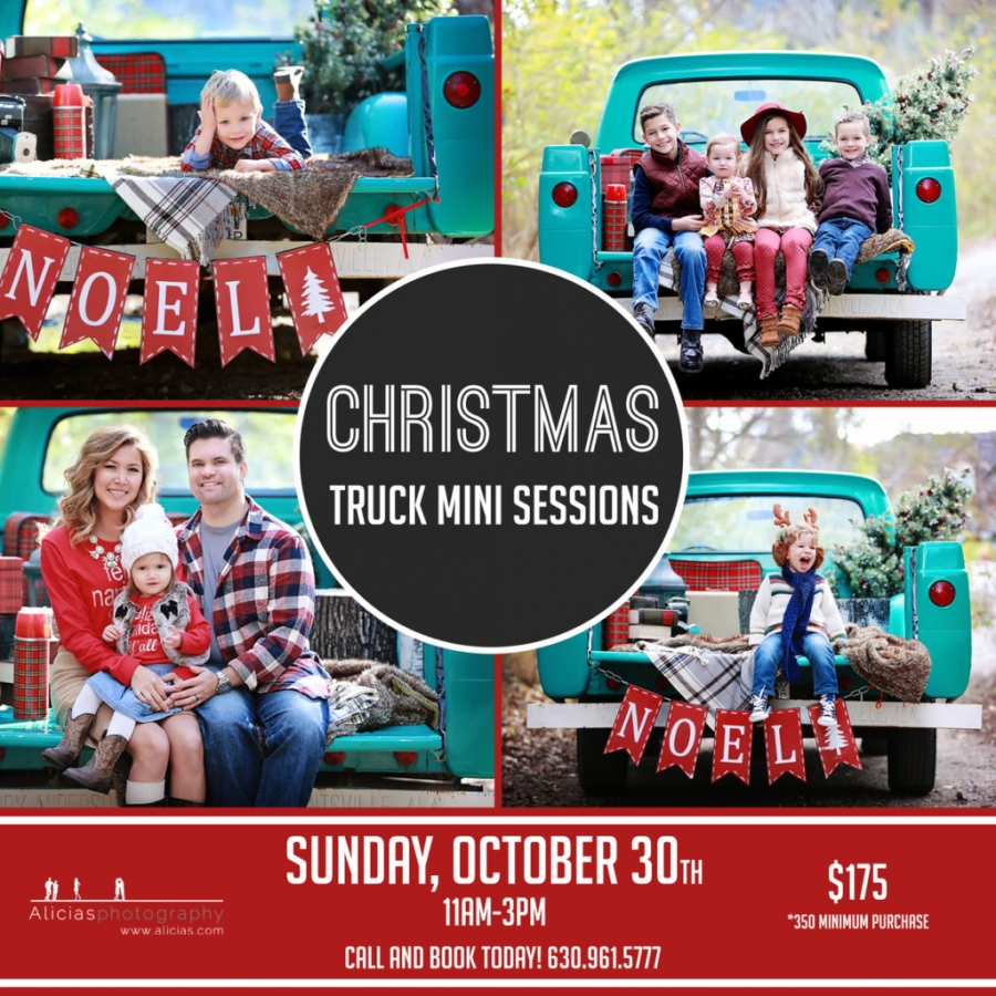 Naperville Chicago Hinsdale Holiday Christmas Truck Mini Sessions