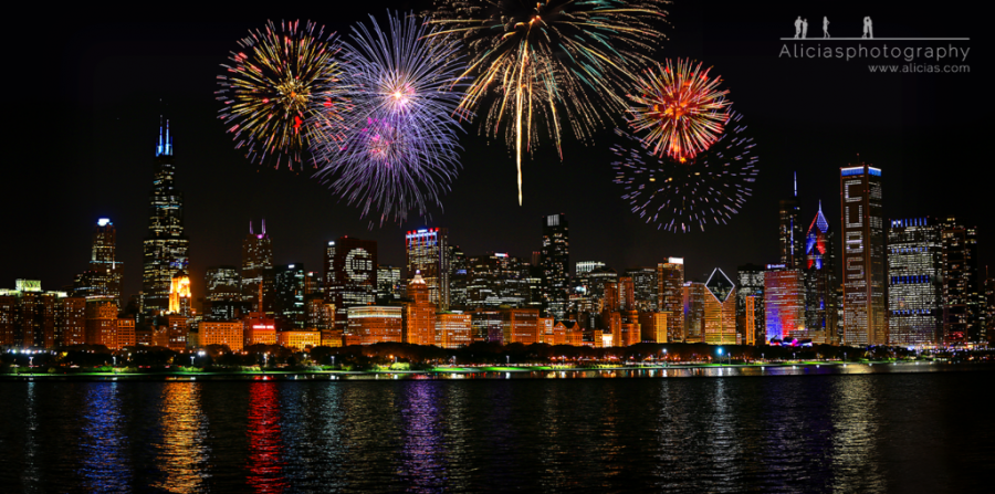 Cubs World Championship 2016 Chicago Skyline Fireworks